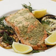 Grilled Salmon with Mustard & Herbs Salmon cooks over a bed of lemon ...