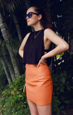 Peekaboo top and leather orange skirt Beautiful Outfits, Cool Outfits, Fashion Outfits, Amazing Outfits, Style Scrapbook, Orange Fashion, Party Fashion, I Love Fashion, Swagg