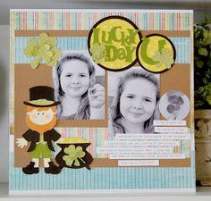 St. Pat's, Luck, Spring, Cricut, Paper Doll Dress Up, clover, layout, single page layout, scrapbook, scrapbooking, diy, handmade, homemade, cricut carts,