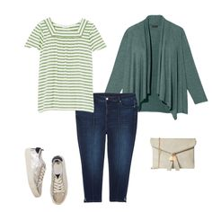 Denim Outfit Ideas from Dia.com: Miranda Clutch , Suri Short Flutter Sleeve Square Neck Tee , & Southgate Skinny Ankle Jean with Center Seam Pintuck