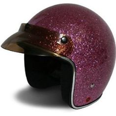 HCI-10 Pink Glitter Open Face Motorcycle / Scooter Helmet with Bubble Visor (Medium) : Amazon.com : Automotive