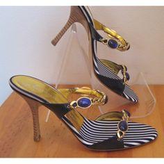 GUISEPPE ZANOTTI navy  white w/jeweled chain mules sandals, New w/Box - $199.00 - sz 35 1/2