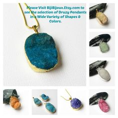 $24.00 #Blue #Druzy #Agate #Pendant, Long Turquoise Crystal Drusy Teardrop, Rectangle Druze #Gemstone Agate Jewelry, Select With/Without Chain  https://www.etsy.com/listing/232795527/indigo-blue-druzy-agate-pendant-long?ref=shop_home_active_21