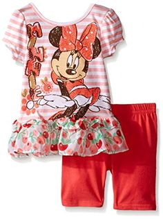 Disney Baby Girls 2 Piece Minnie Mouse Flower Chiffon Ruffle Top Bike Short Set Coral 24 Months >>> Visit the image link more details.