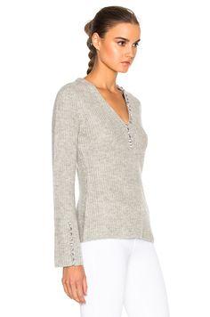 Image 3 of DEREK LAM 10 CROSBY V Neck Sweater in Grey Melange
