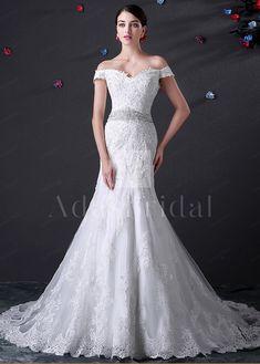 Buy discount Elegant Tulle Off-the-shoulder Neckline Mermaid Wedding Dress at dressilyme.co