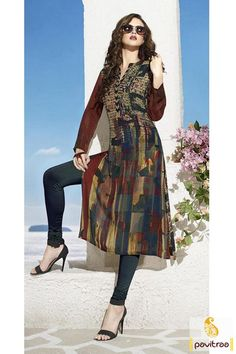 #Brown Color Stylish Printed Designer #Long Party Wear Kurti Online #kurti…