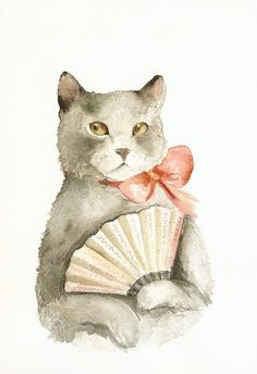 """Amber Alexander - Middlesex, VT:  """"Lady with a Fan"""" (20.00)  Print of the original watercolor.  Archival print printed w/ Epson Ultra Chrome pigment inks on Hahnemuhle Fine Art Paper. Print will come signed  dated by the Artist."""