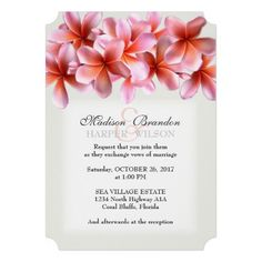 Pink Plumeria Light Gray Tropical Hawaiian Luau Wedding Invites Announcements Invitations   #wedding #hawaiian #tropical