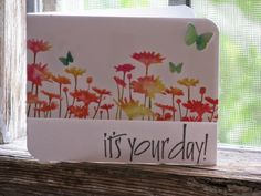 It's your day! Cute painted canvas, flowers, butterflies.