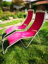 a pair of mid century sun loungers