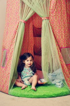 kids tent in corner of room - Google Search...cute fabric and tulle? for livi