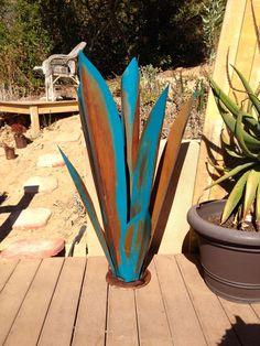Massive Blue Rustic Tequila Agave, Metal Garden Sculpture, Metal Cactus, Metal…