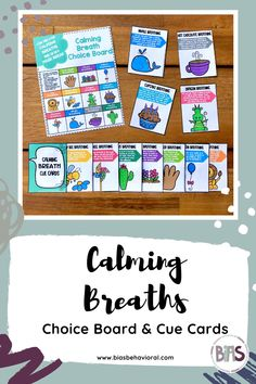 The CALMING BREATH CARDS edition features a variety of deep breathing exercises that children can use while on a mask break or as a general calming strategy. Each card contains an easy-to-follow description for the strategy provided. Use these cue cards in a break area, Zen Den, or cool-down corner. The choice board included with this resource can be used as a menu both in-person or virtually through screen share.