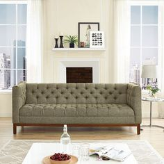 - Panache Fabric Sofa in Oatmeal