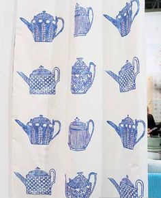 Designer Fabric For Kitchen Curtains In Blue And White Colors