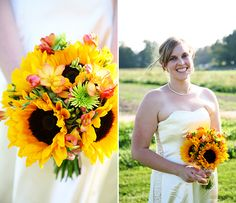 Sunflower bouquet with a touch of pink