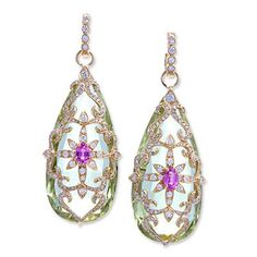 18K Gold and Diamond Yellow Beryl and Pink Sapphire Garden Earrings | Erica Courtney
