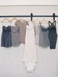 slate grey / blue bridesmaid dresses