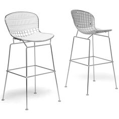 Tolland Modern Bar Stool with White Cushions (Set of 2) - Overstock™ Shopping - Great Deals on Baxton Studio Bar Stools