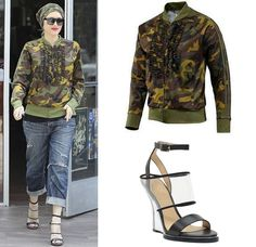 Shop Celebrity Closet: Gwen Stefani Adidas Jeremy Scott Ruffle Camo Jacket & L.A.M.B. Fiby Ankle Strap Wedge - http://www.becauseiamfabulous.com/2014/05/gwen-stefani-adidas-jeremy-scott-ruffle-camo-jacket-l-a-m-b-fiby-ankle-strap-wedge/