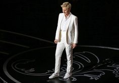 Ellen DeGeneres' suit is perfect inspiration for androgynous attire for lesbian and queer weddings/proms.