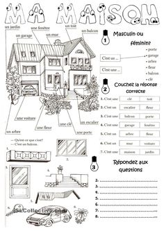Ma maison en français - vocabulary for parts of the house in French