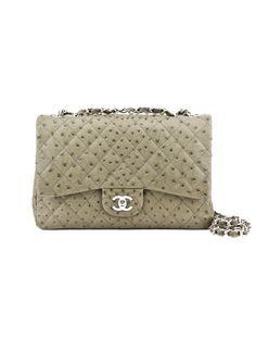 9a9722d1c95d Light Olive Green CHANEL Classic Quilted Ostrich Handbag Chanel Classic Flap