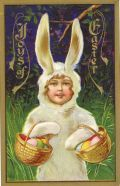 Little kid in Easter bunny costume carrying Easter baskets vintage card Easter Greeting Cards, Vintage Greeting Cards, Vintage Postcards, Vintage Images, Easter Art, Easter Crafts, Holiday Crafts, Easter Bunny Costume, Decoupage