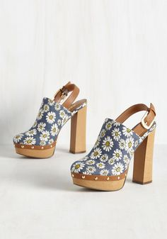 As Far Out as It Goes Heel. Its tough to beat a slingback clog with this much funky flavor! #blue #modcloth