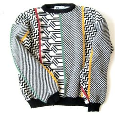 1980s Geometric Sweater Size Small to Medium ($32) ❤ liked on Polyvore featuring tops, sweaters, shirts, sweatshirts, geometric shirt, sleeve shirt, long sleeve tops, black white shirt and white and black shirt