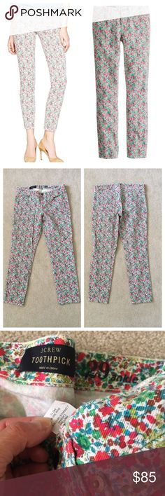 J. Crew👖Liberty Toothpick/Emma & Georgina Floral Beautiful preloved condition,  no stains or marks.  #30679 from Holiday 2012, skinny ankle fit (Sz 29A) as the original, features a colorful floral from London's Liberty Art Fabrics. ThisLiberty of London Print combines two best-of-the-best prints—Emma from 1970 and Georgina from 2001—into one blooming mix of old and new. Sits lower on hips. Slim through hip and thigh, with a skinny, cropped leg. Cotton with a hint of stretch. Waist measures…