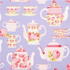 purple Michael Miller fabric tea pot cup rose