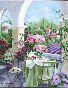 """""""Tea on the Terrace"""" by Mary Kay Crowley"""