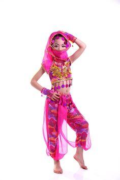 4 Colors Kids Belly Dance Costume Set Girls Bellydance Costumes With Veil  Bracelets Bollywood Indian Dancing Girl s Dance Wear 7666d8320dd9