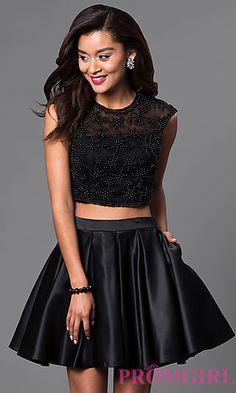 Two-Piece Short Lace-Bodice Black Dress | Style, Two piece dress ...