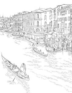 """""""Venice Coloring Book for Adults"""" is an original coloring book for adults and smart children. Relax, grab your pencils and color famous landmarks from the romantic city of Venice, Italy. Featuring beautiful detailed sketches of landmarks from Venic. Detailed Coloring Pages, Cool Coloring Pages, Coloring Pages To Print, Coloring Sheets, Coloring Books, Black And White Art Drawing, Free Adult Coloring, Secret Garden Coloring Book, Wall Drawing"""