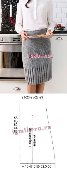 Серая шерстяная юбка, выполненная разными видами резинки. Вязание спицами ÕPETUS: http://igmihrru.ru/MODELI/sp/youbka/028/28.html