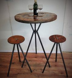 Items similar to Matching Set bar height adjustable spool table with adjustable wire cable reel spool top stools rebar legs custom made artisan Hand crafted on Etsy Diy Furniture Fix, Metal Furniture, Industrial Furniture, Welding Table Diy, Diy Table, Welding Cart, Welding Ideas, Round Counter Height Table, Game Room Tables