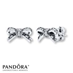 Pandora Earrings Sparkling Bow Sterling Silver