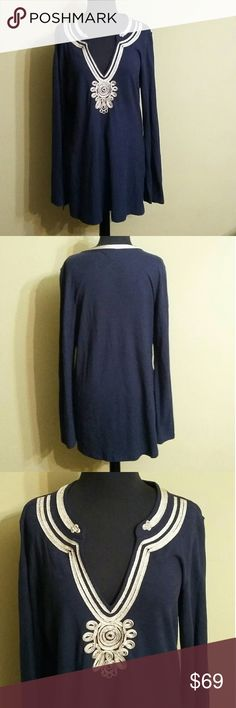 Lilly Pulitzer Tunic Lilly Pulitzer Emerson navy blue with metallic gold ribboned embellished collar tunic. This top is almost new without the tags. Great condition! Lilly Pulitzer Tops Tunics