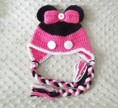 Minnie Mouse Baby Knit Hat 3 to 6 Months by HippityHoppityHats, $18.00
