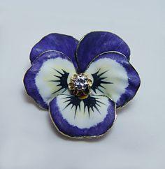 Antique Diamond Enamel Pansy Flower Brooch Pendant 14k Gold Estate Jewelry | eBay