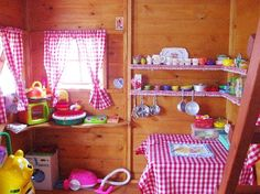 Cute idea for inside a girl's playhouse :)