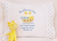 Embroidered Baby Pillow with Original Design, God Loves Each of Us by  AsForMe on Etsy