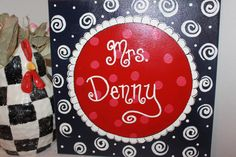 Items similar to Personalized teacher canvas sign or child's sign or nursery sign 12 whimsical canvas navy blue, red , and white on Etsy Name Canvas, Canvas Signs, Teacher Canvas, Teacher Name Signs, Nursery Signs, Canvas Crafts, Classroom Ideas, Whimsical, Crafty