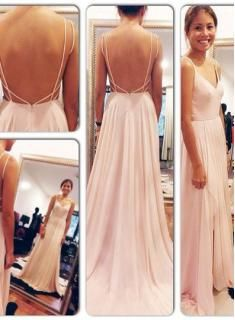 Long V-neck Elegant Prom Dress 2015 Chiffon sleeveless Evening Gowns