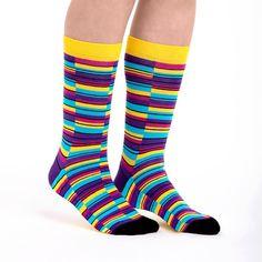 Mens Boot Socks Rainbow Watercolor Gay Pride Gradient Stocking Funky Cotton Socks