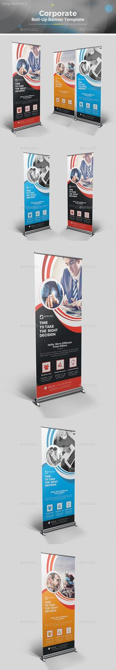 Roll Up Banner Design Template - Signage Ads Banner RollUp Design Print Templates Vector EPS, AI Illustrator. Download here: https://graphicriver.net/item/roll-up-banner/19343094?ref=yinkira