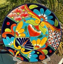 Colorful plate Ceramica Artistica Ideas, Cerámica Ideas, Mexican Paintings, Pottery Painting Designs, Mexican Ceramics, Talavera Pottery, Mandala Painting, China Painting, Mexican Folk Art